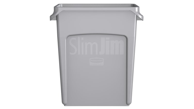16 Gallon Vented Slim Jim Waste Container W Handle