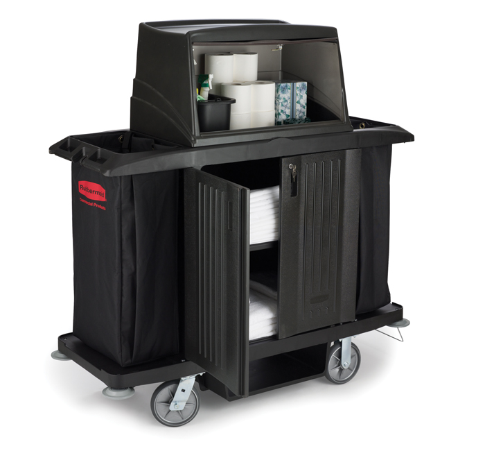 Rubbermaid 9t19 Full Size Housekeeping Cart With Doors