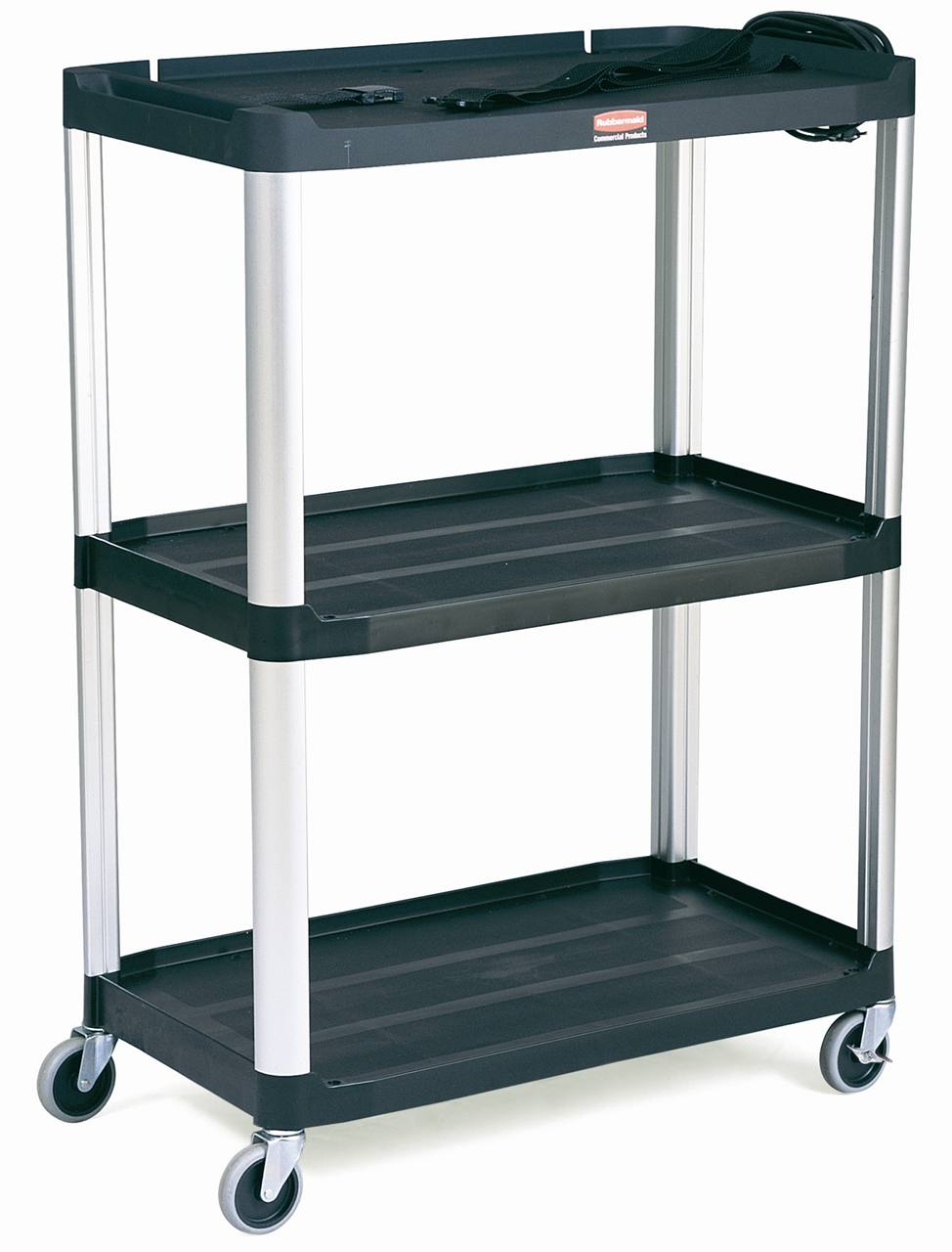 rubbermaid 9t33 media master audiovisual cart open cart w 3 shelves