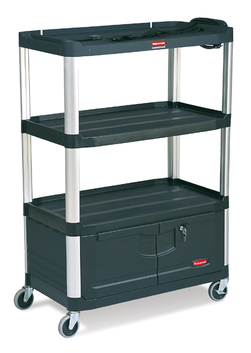 Rubbermaid 9T35 Media Master Audio Visual Cart, 4 Shelves And Cabinet
