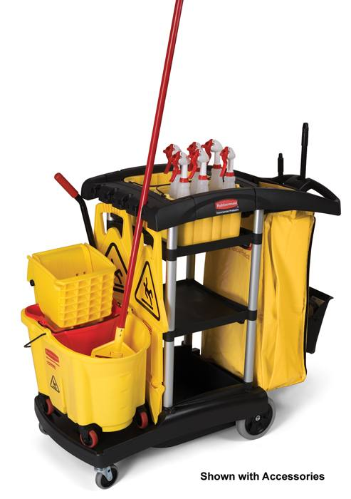 Rubbermaid 9t72 high capacity cleaning cart janitor cart for Chariot de menage rubbermaid