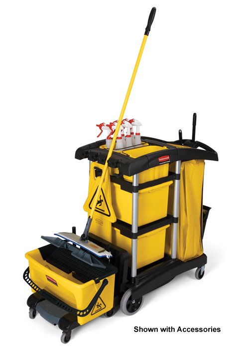 Rubbermaid 9t73 Microfiber Janitor Carts Cleaning Cart