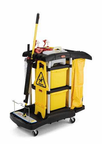 Rubbermaid 9t74 Microfiber Janitor Cart Cleaning Cart