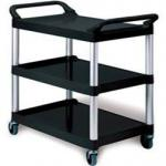 View: Rubbermaid 3424-88 Utility Cart with Brushed Aluminum Uprights