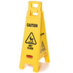 "View: 6 Pack 6114-77 Floor Sign with ""Caution Wet Floor"" Imprint, 4-Sided Clearance"
