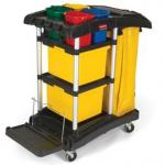 View: Rubbermaid 9T74 Microfiber Janitor Cart with Color-Coded Pails